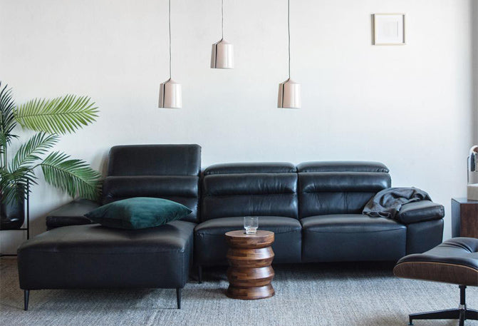 right-arm-facing leather sectional sofa