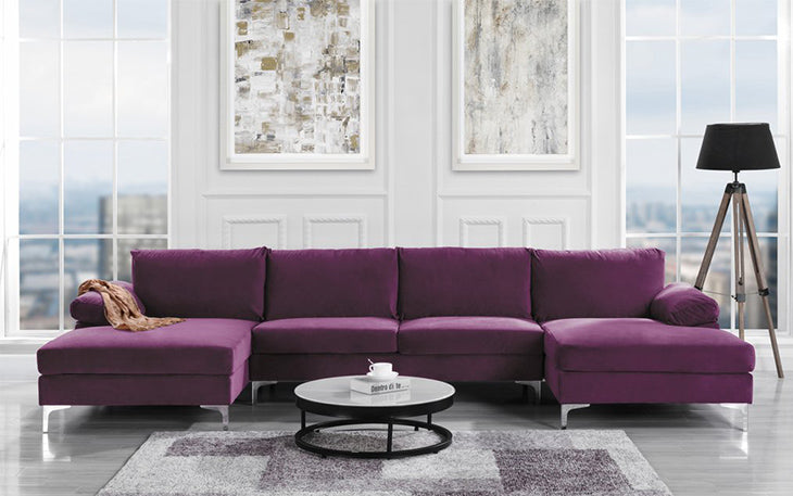 purple u-shaped sectional sofa in velvet