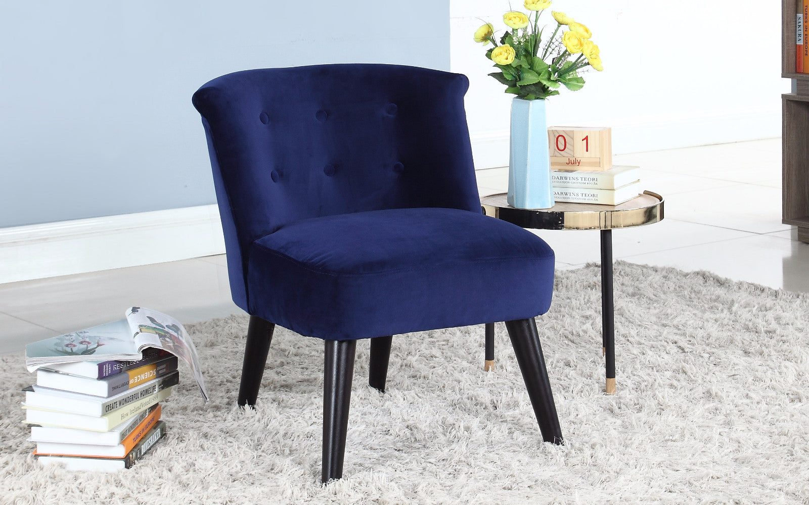 ... Roger Velvet Accent Chair With Tufted Details In Navy ...