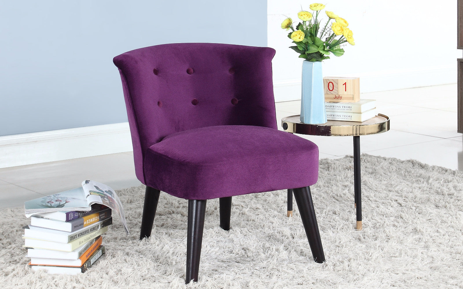 ... Roger Velvet Accent Chair With Tufted Details In Purple ...