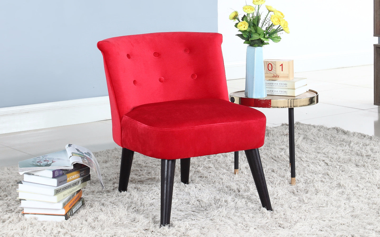 velvet accent chair. Roger Velvet Accent Chair With Tufted Details In Red
