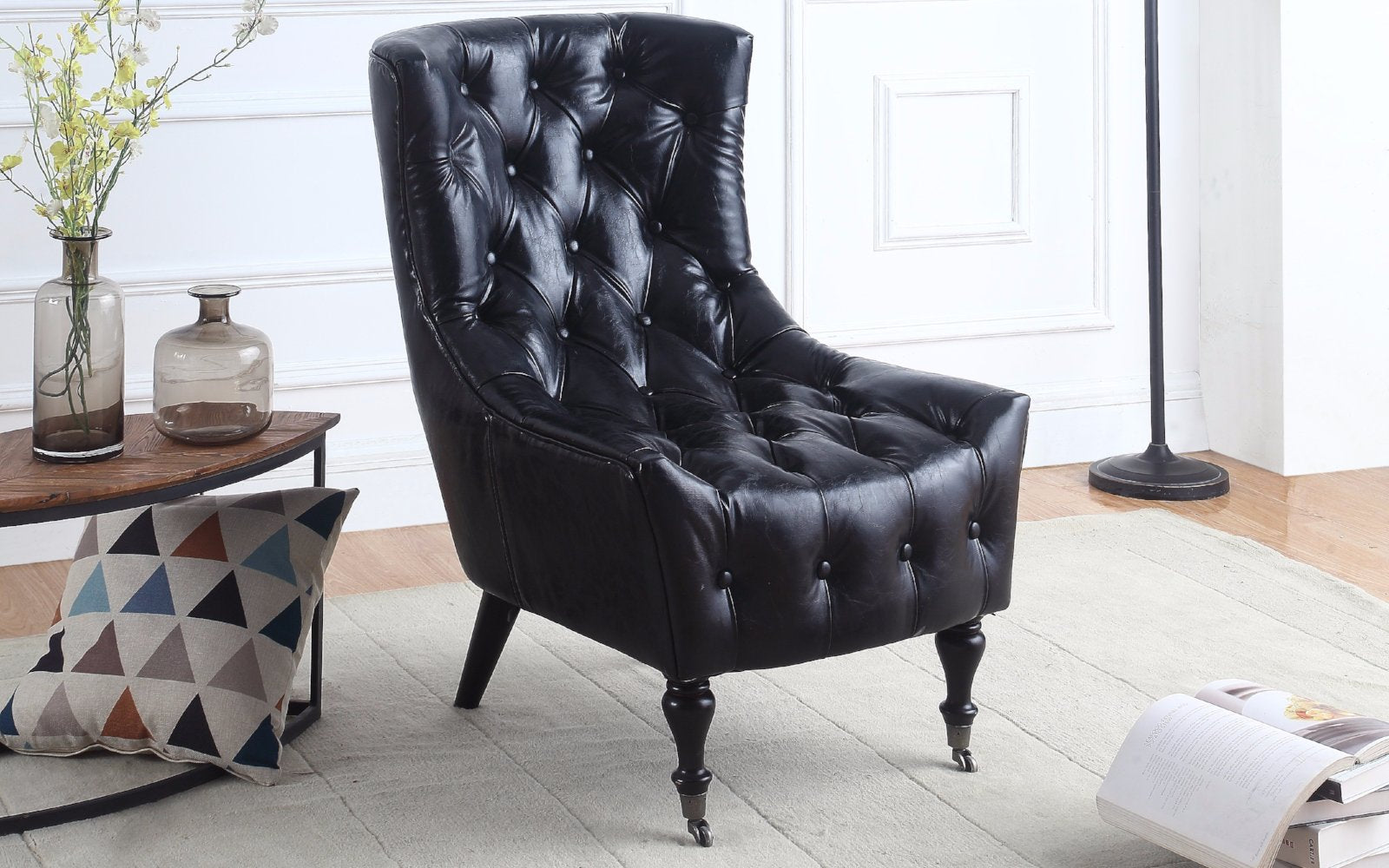 ... Ennio Classic Tufted Faux Leather Armchair With Casters Black Lifestyle  ...