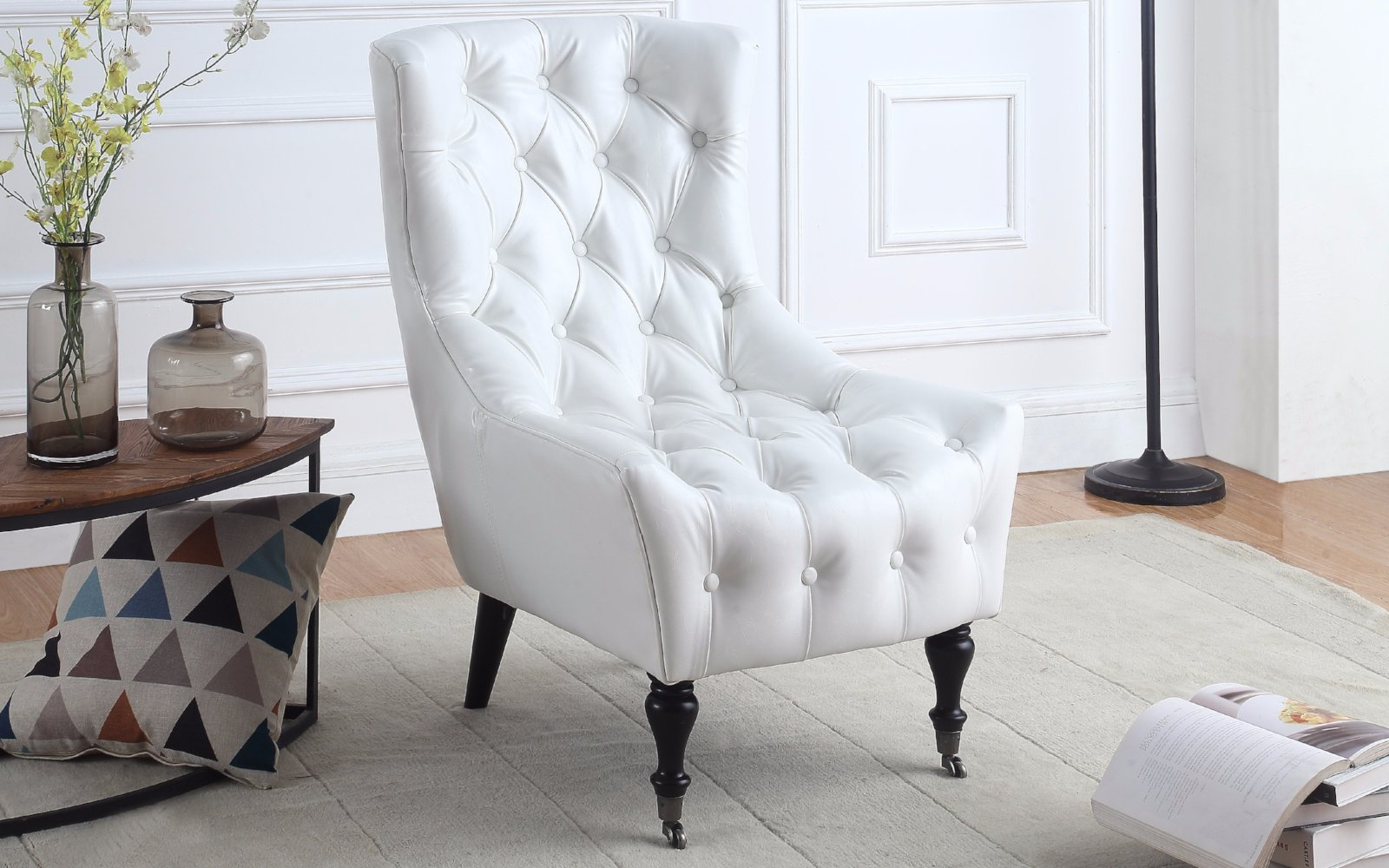 Best Ennio Classic Tufted Faux Leather Armchair with Casters  OR08