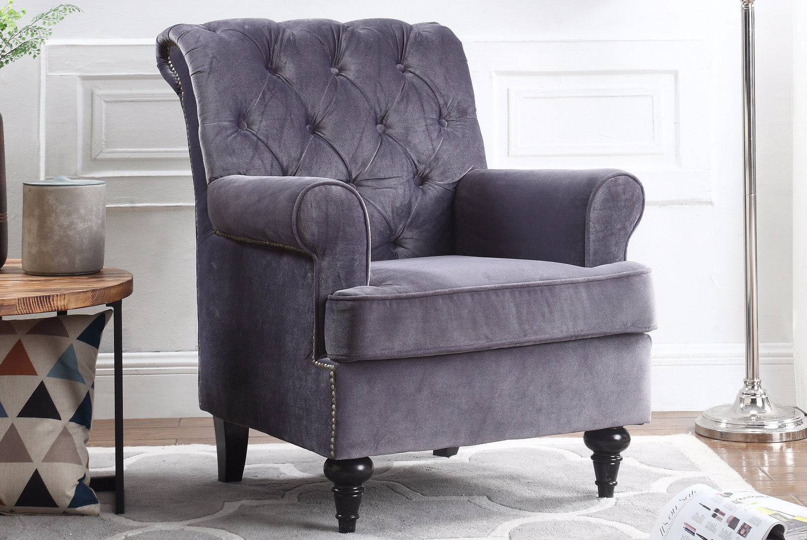 Bon ... Christopher Tufted Velvet Accent Armchair In Grey ...
