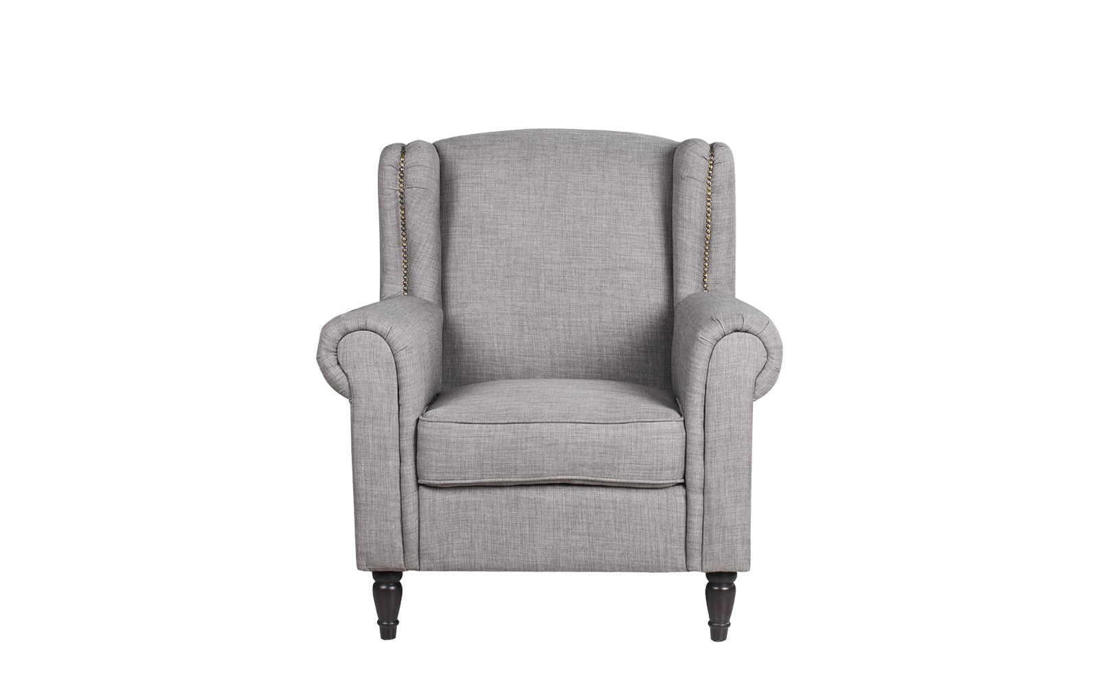 ... Galway Classic Scroll Arm Linen Accent Chair   Light Grey Front ...