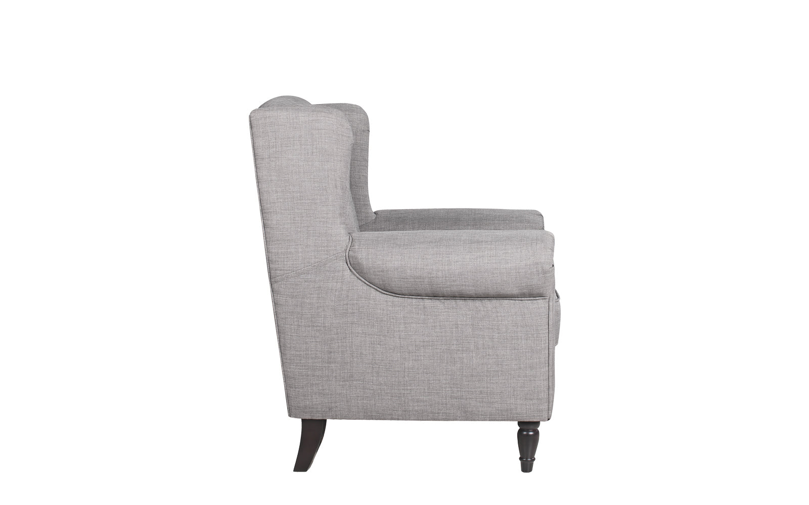 Galway Classic Scroll Arm Linen Accent Chair   Light Grey Side ...