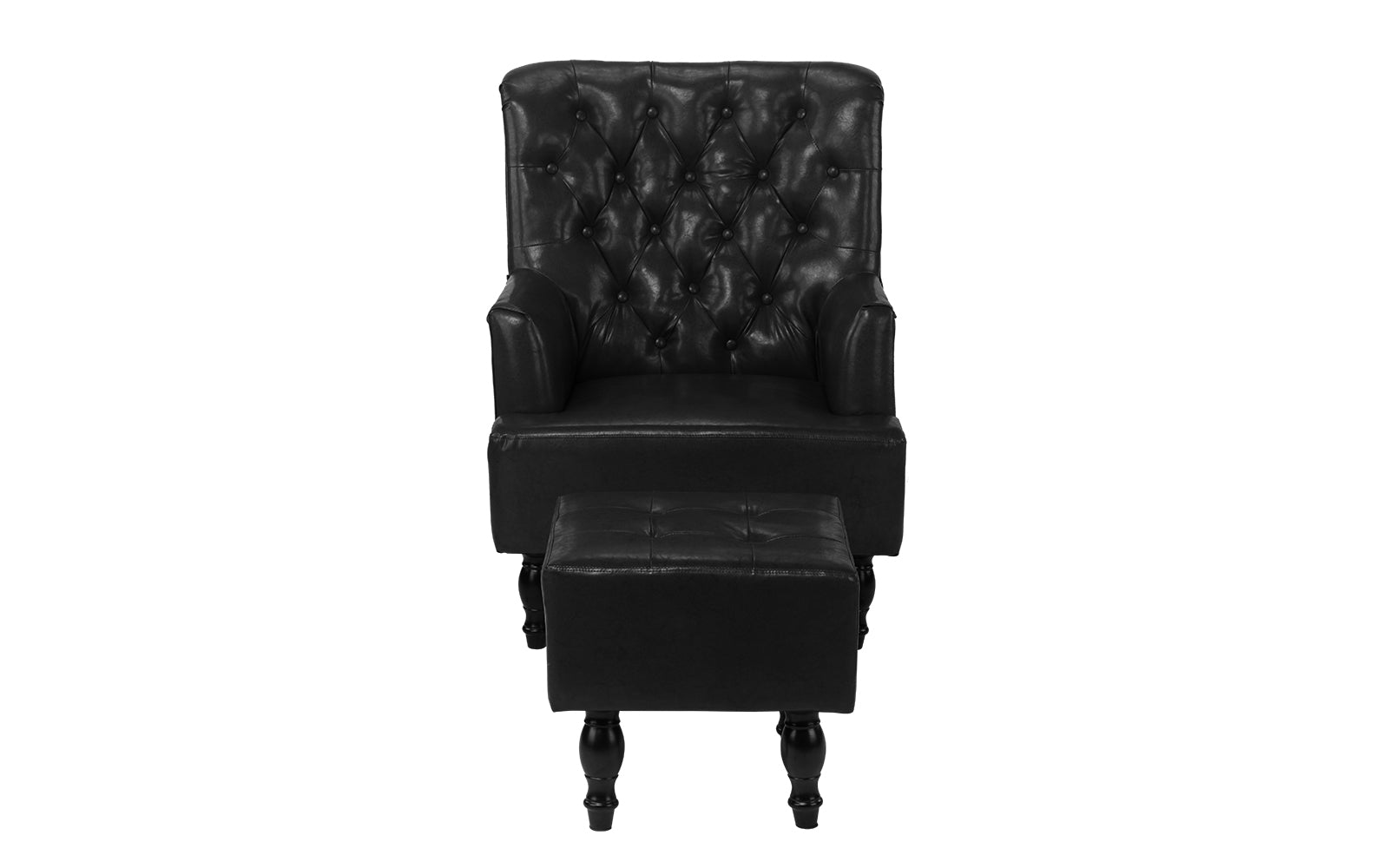 Vela Tufted Victorian Faux Leather Armchair And Ottoman Set