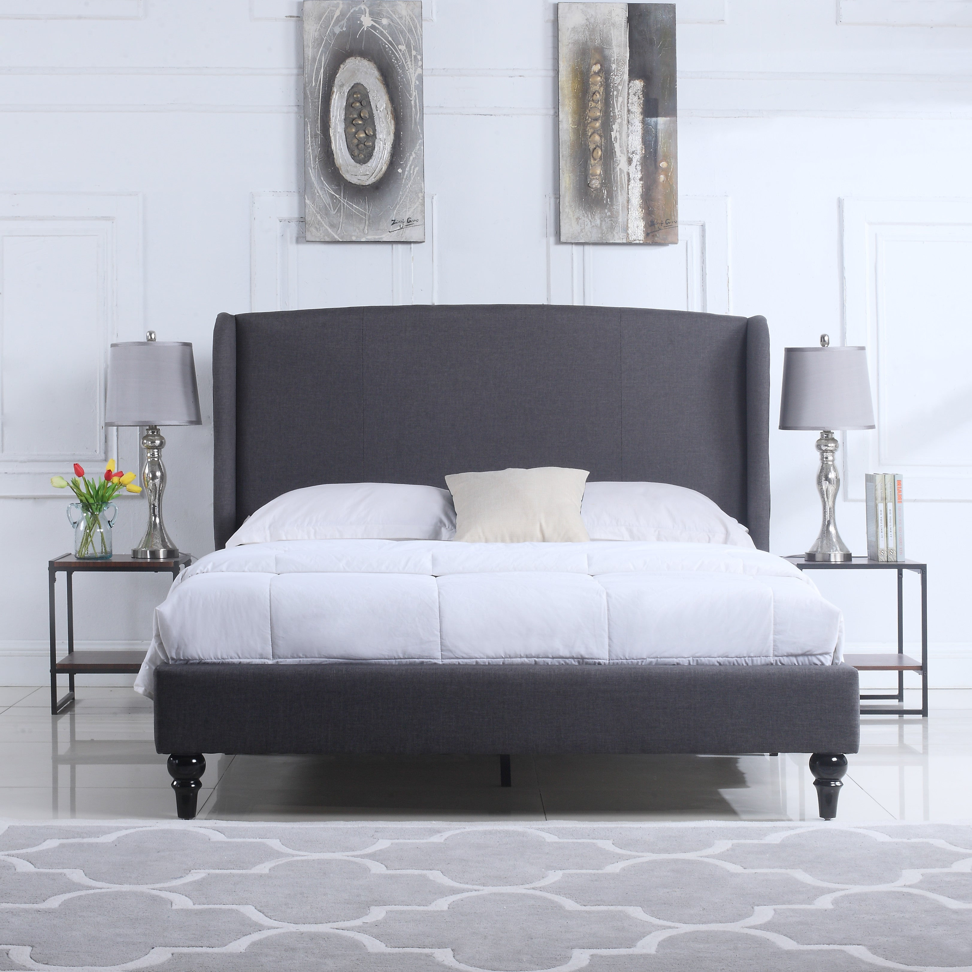 ... Oslo Linen Bed With Upholstered Headboard In Grey Lifestyle Shot ...