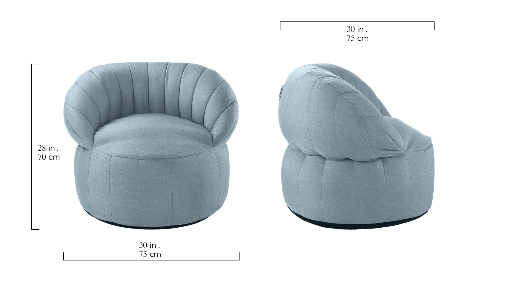 Quinn Large Bean Bag Chair With Backrest