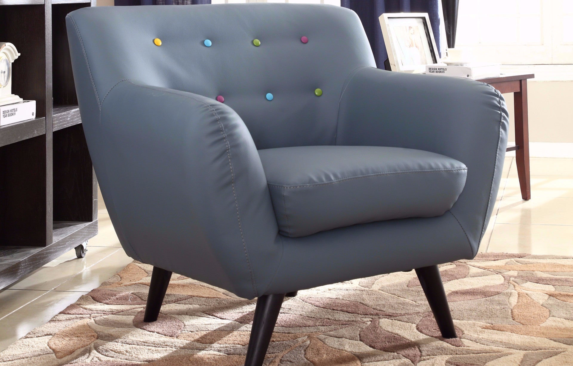 ... Nico Mid Century Modern Bonded Leather Chair In Grey With Dots ...