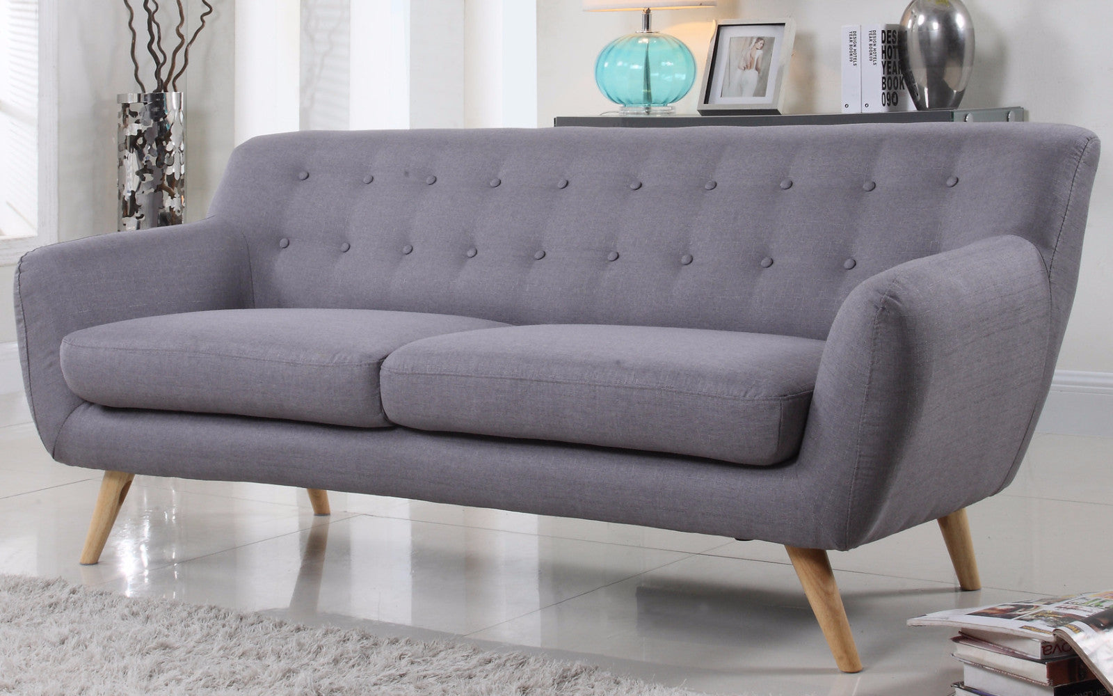 ... Nico Mid Century Modern Fabric Sofa In Light Grey ...