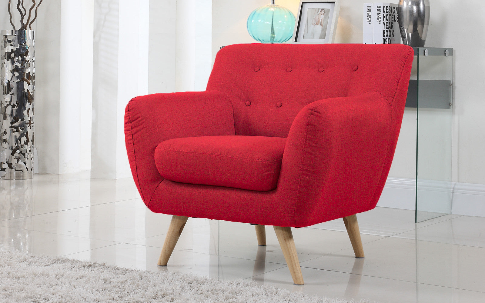 Red velvet chair -  Nico Mid Century Modern Linen Chair In Red
