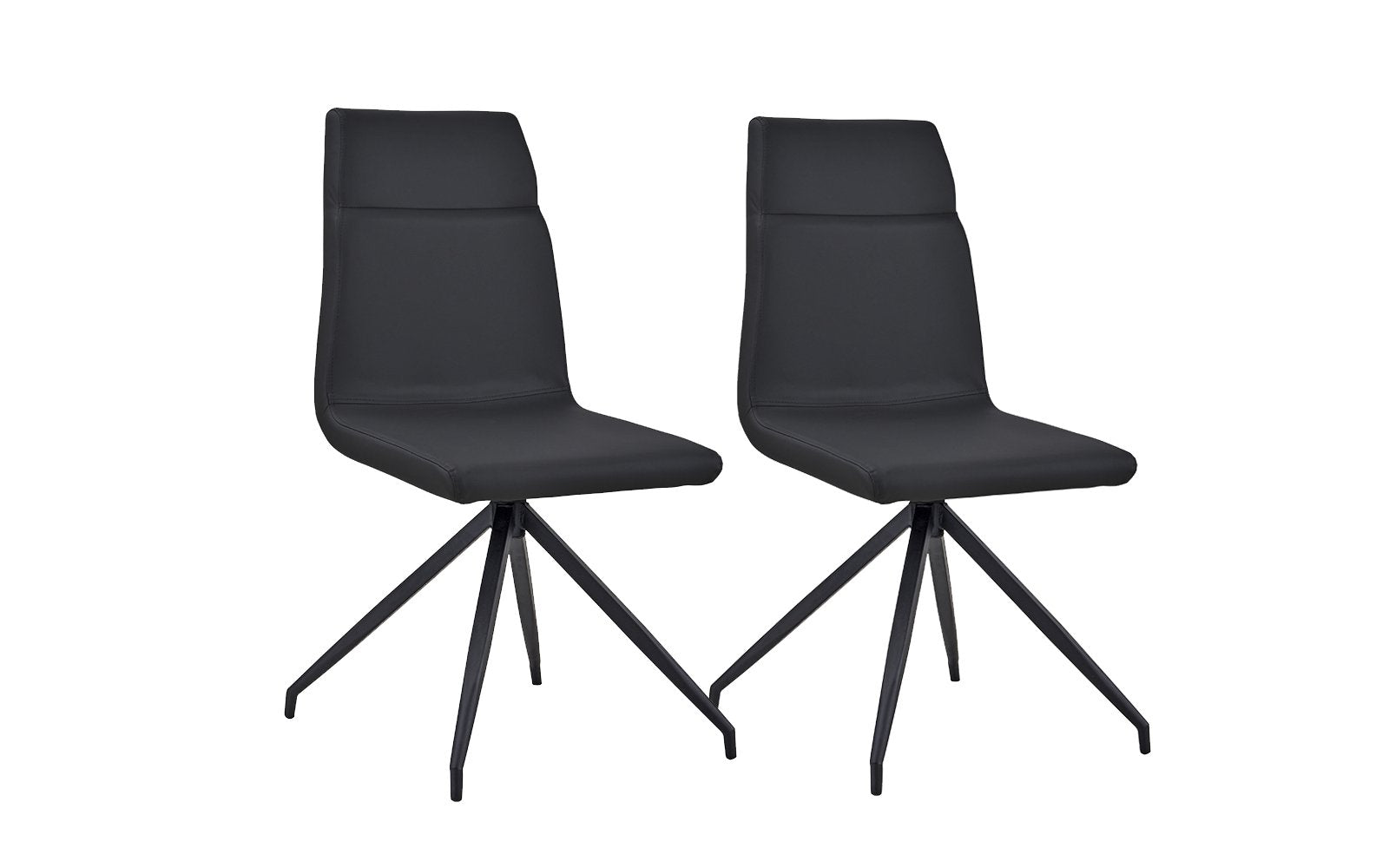 Leo Set of (2) Modern Faux Leather Kitchen Chairs