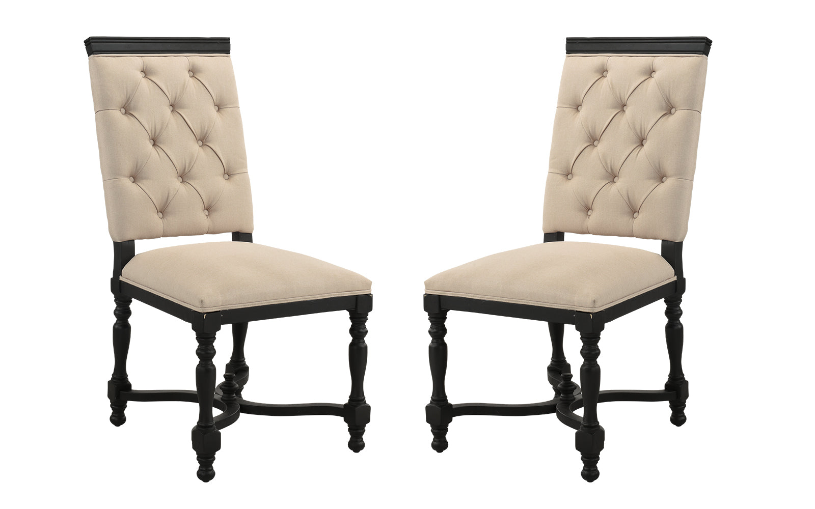 177 & Juste Set of (2) Victoria Style Tufted Dining Chairs with Carved Legs
