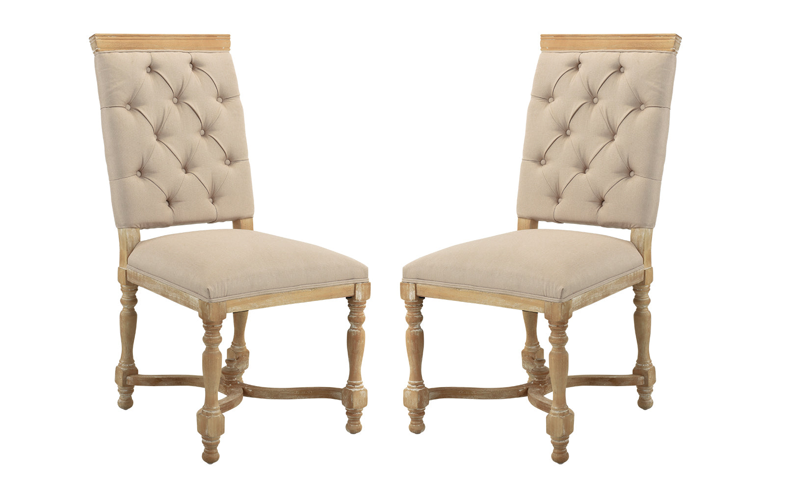 Juste Set of (2) Victoria Style Tufted Dining Chairs with Carved Legs  sc 1 st  Sofamania & Juste Set of (2) Victoria Style Tufted Dining Chairs with Carved ...