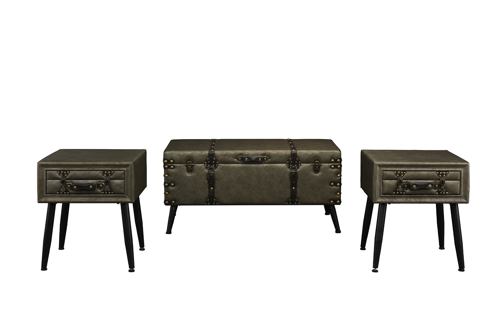 Leather Storage Chest Accent Table Set Image