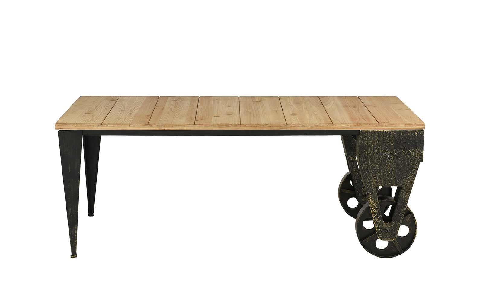 Anders Metal And Natural Wooden Plank Accent Coffee Table