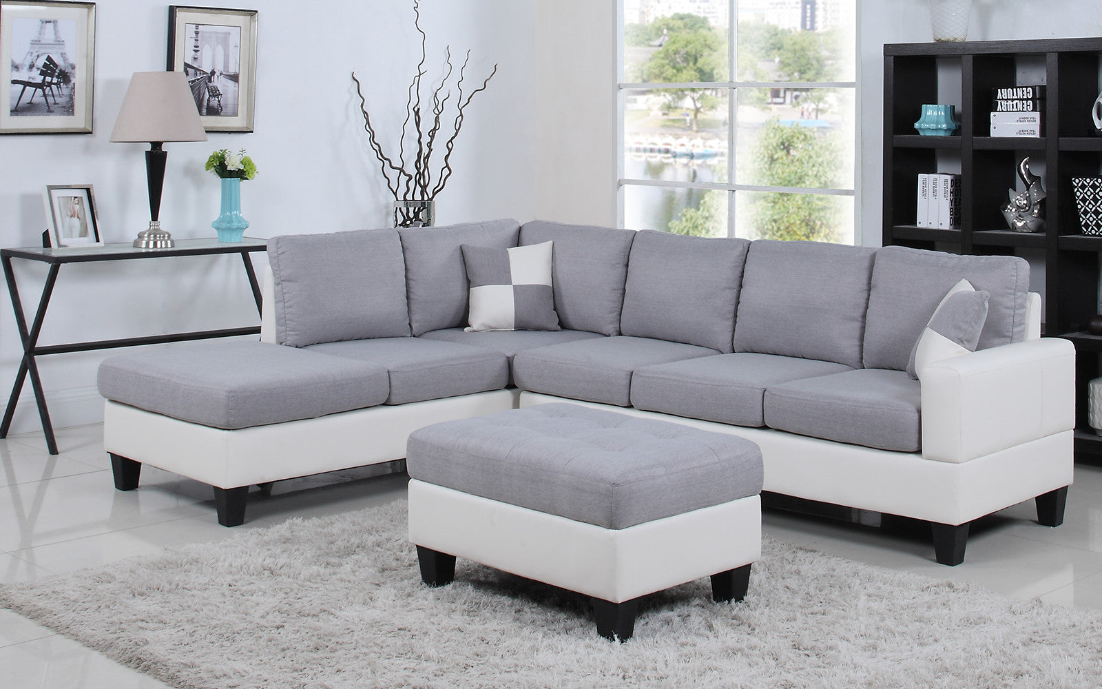 cruce modern reversible mixed fabric sectional white and light grey . cruce modern reversible mixed fabric sectional  sofamaniacom