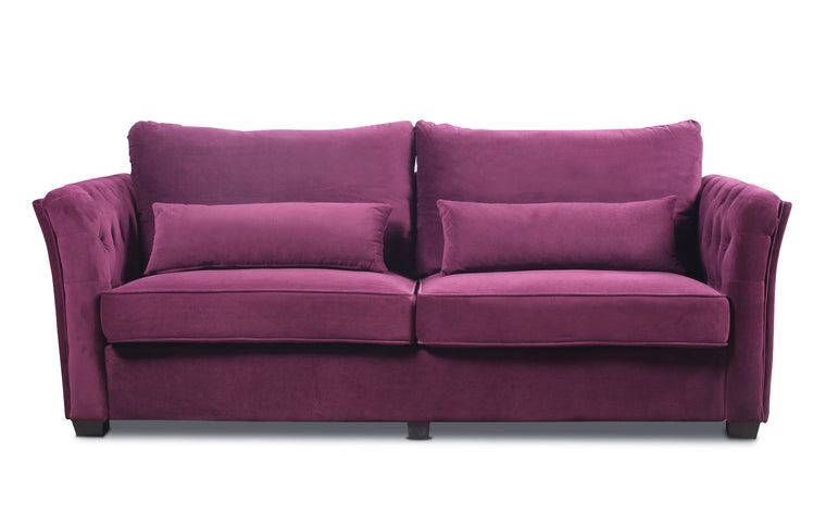 Petros Traditional Velvet Sofa With (2) Accent Pillows