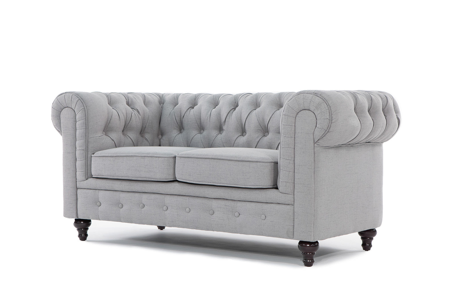 ... Charleston Classic Chesterfield Linen Loveseat In Stone Angle Shot ...