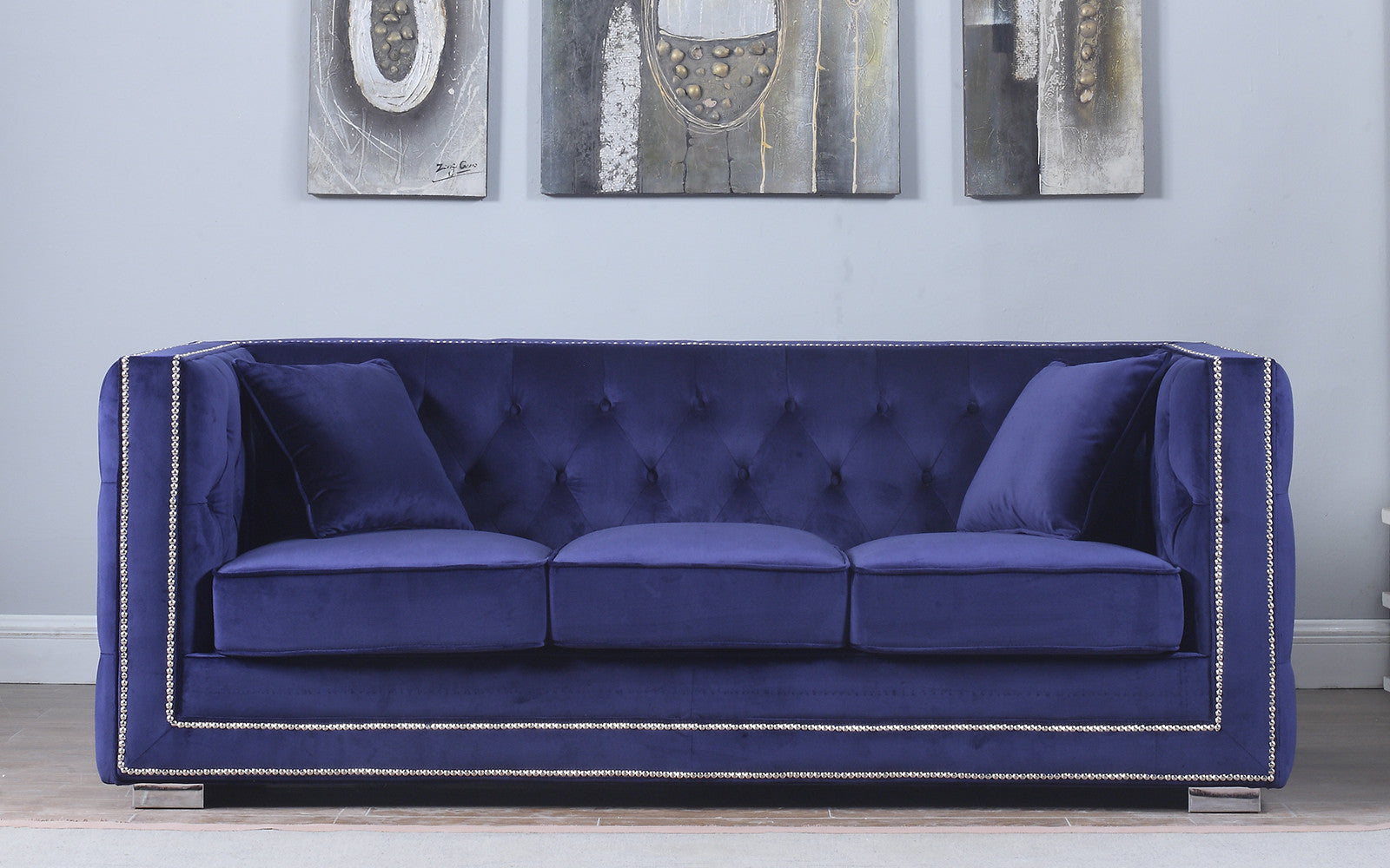 Moliere Tufted Velvet Sofa with Nailhead Trim | Sofamania.com