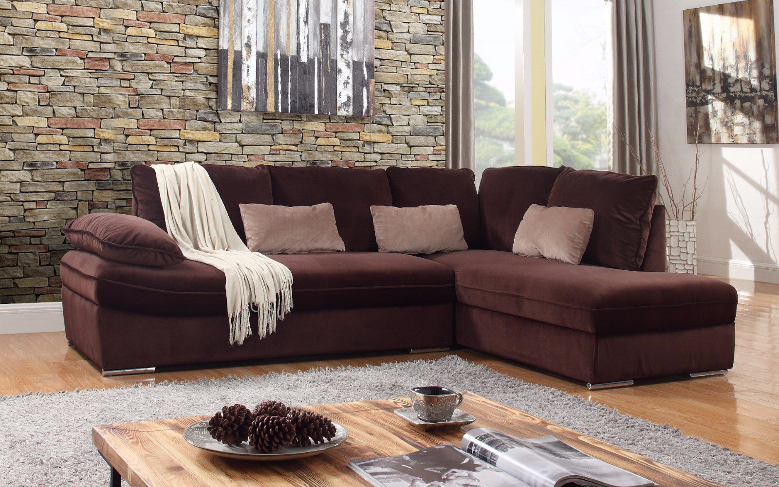granada large microfiber sectional in brown lifestyle