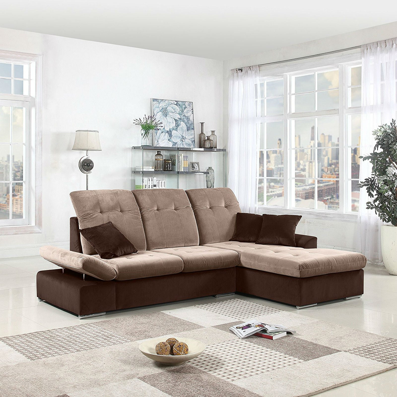 Concorde Modern Microfiber Sectional Sofa with Right Chaise