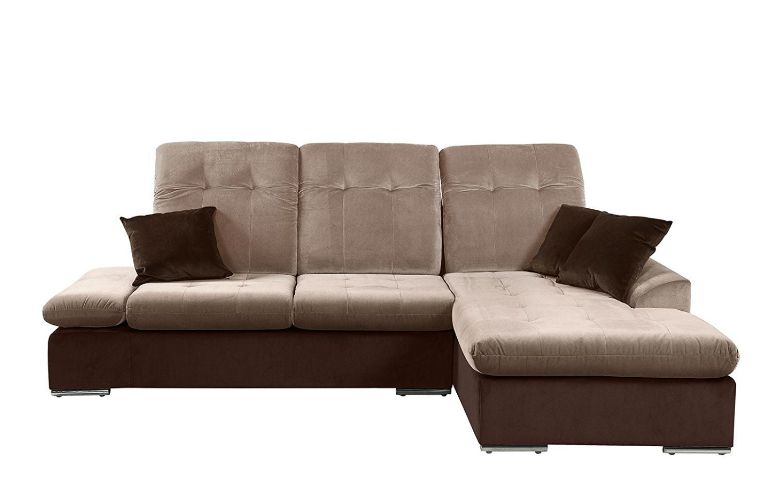 ... Concorde Microfiber Sectional Sofa With Chaise Hazel And Brown ...