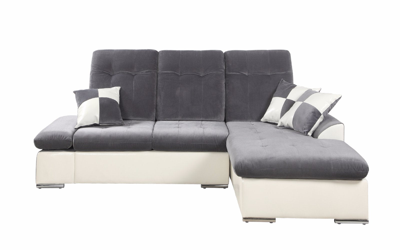 Concorde Microfiber And Faux Leather Sectional Sofa With Chaise ...