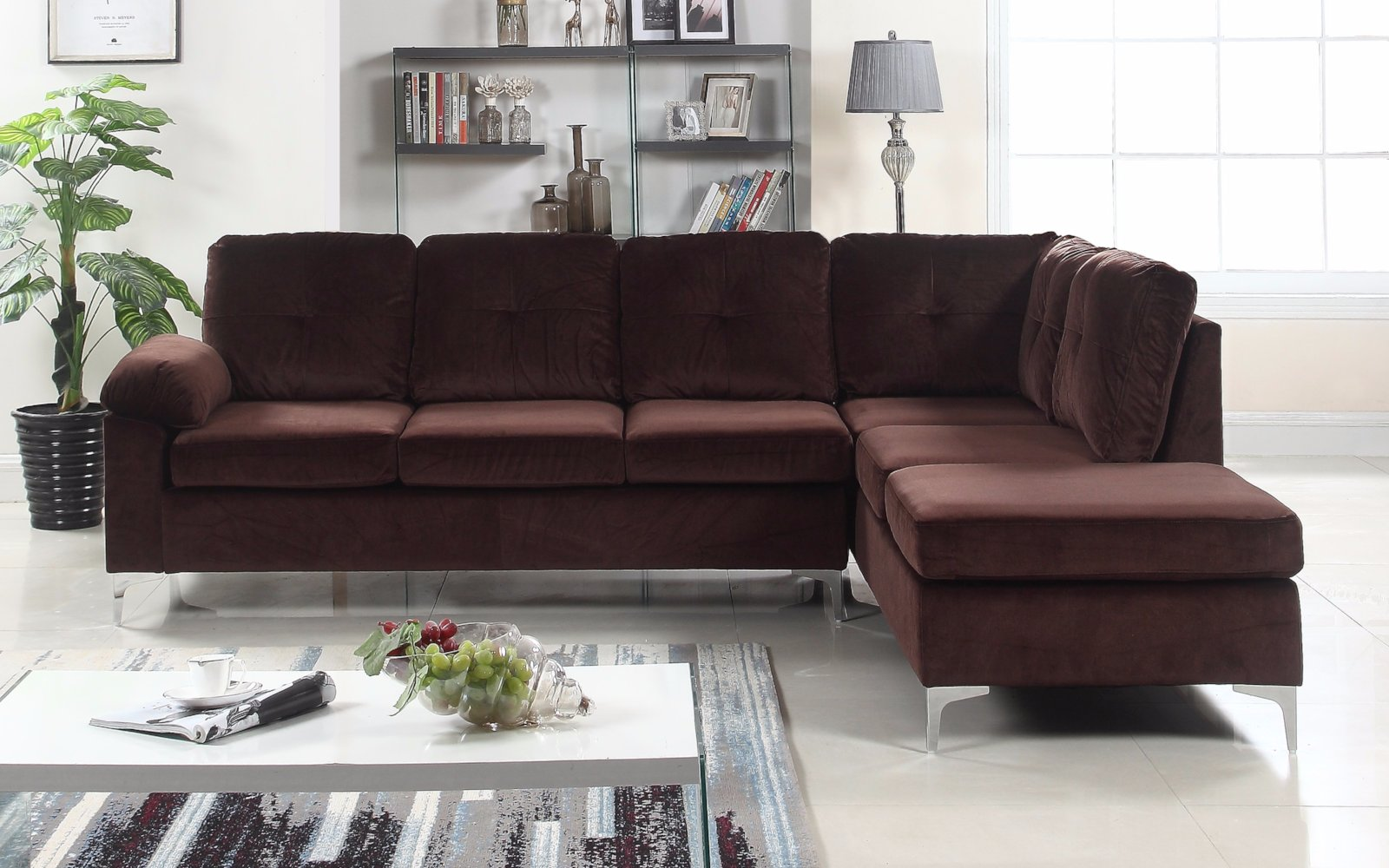 Gentil Helsinki Modern Tufted Brush Microfiber Sectional Sofa Brown Lifestyle ...