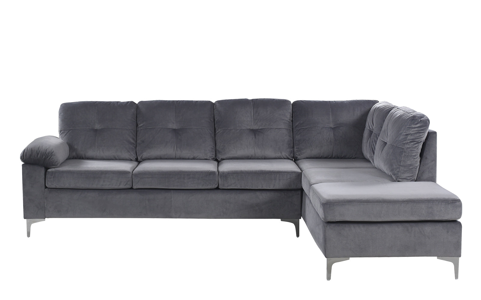 Helsinki modern tufted brush microfiber sectional sofa for Microfiber sectional sofa