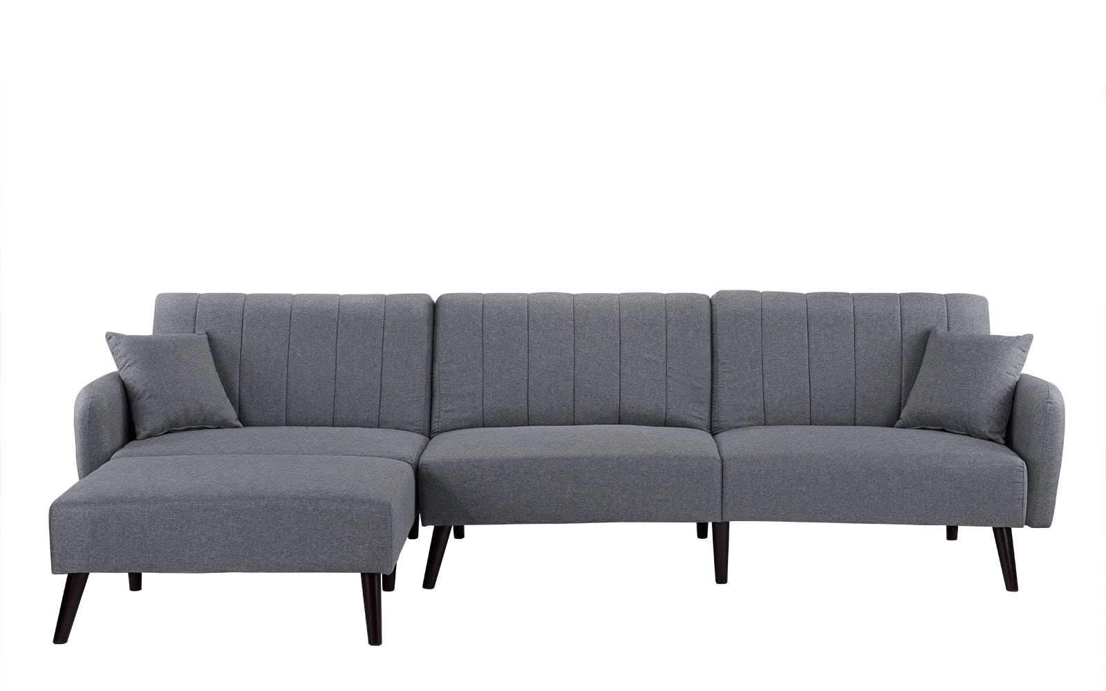 ... Skyler Mid Century Modern Style Linen Sleeper Futon Sofa In Light Grey  ...