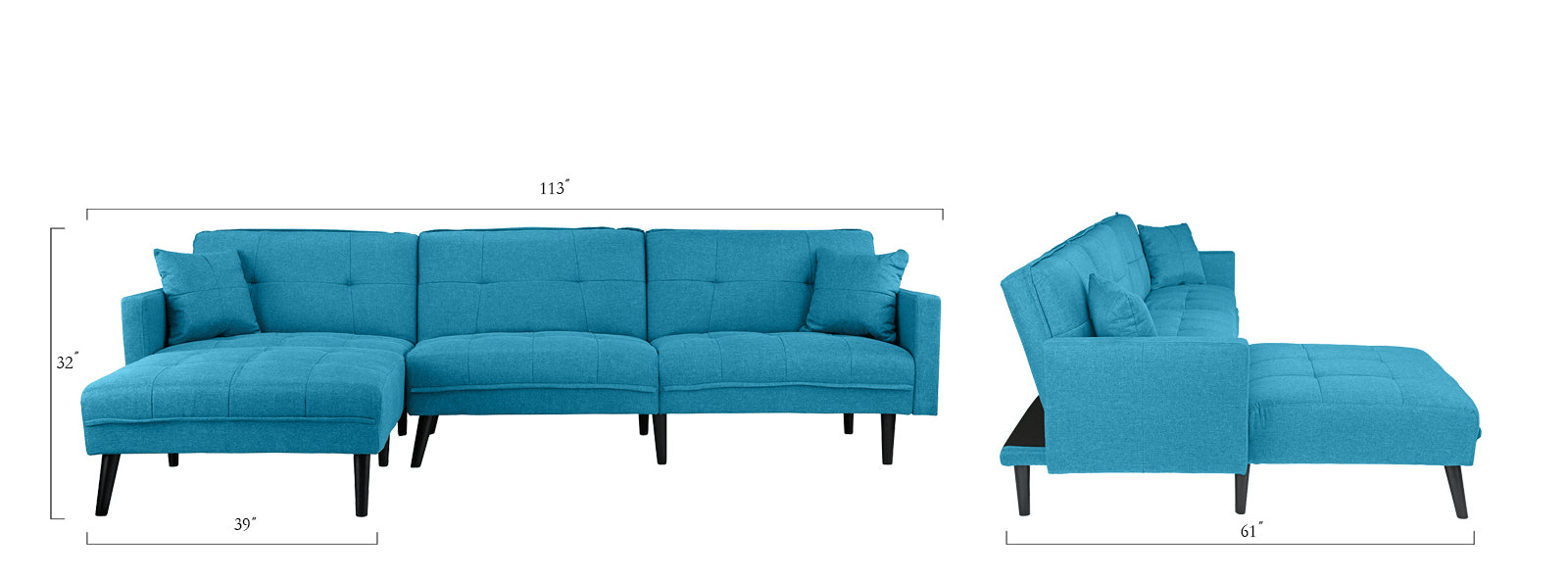 Cool Romulo Mid Century Modern Linen Sleeper Sectional Sofa With Chaise Alphanode Cool Chair Designs And Ideas Alphanodeonline