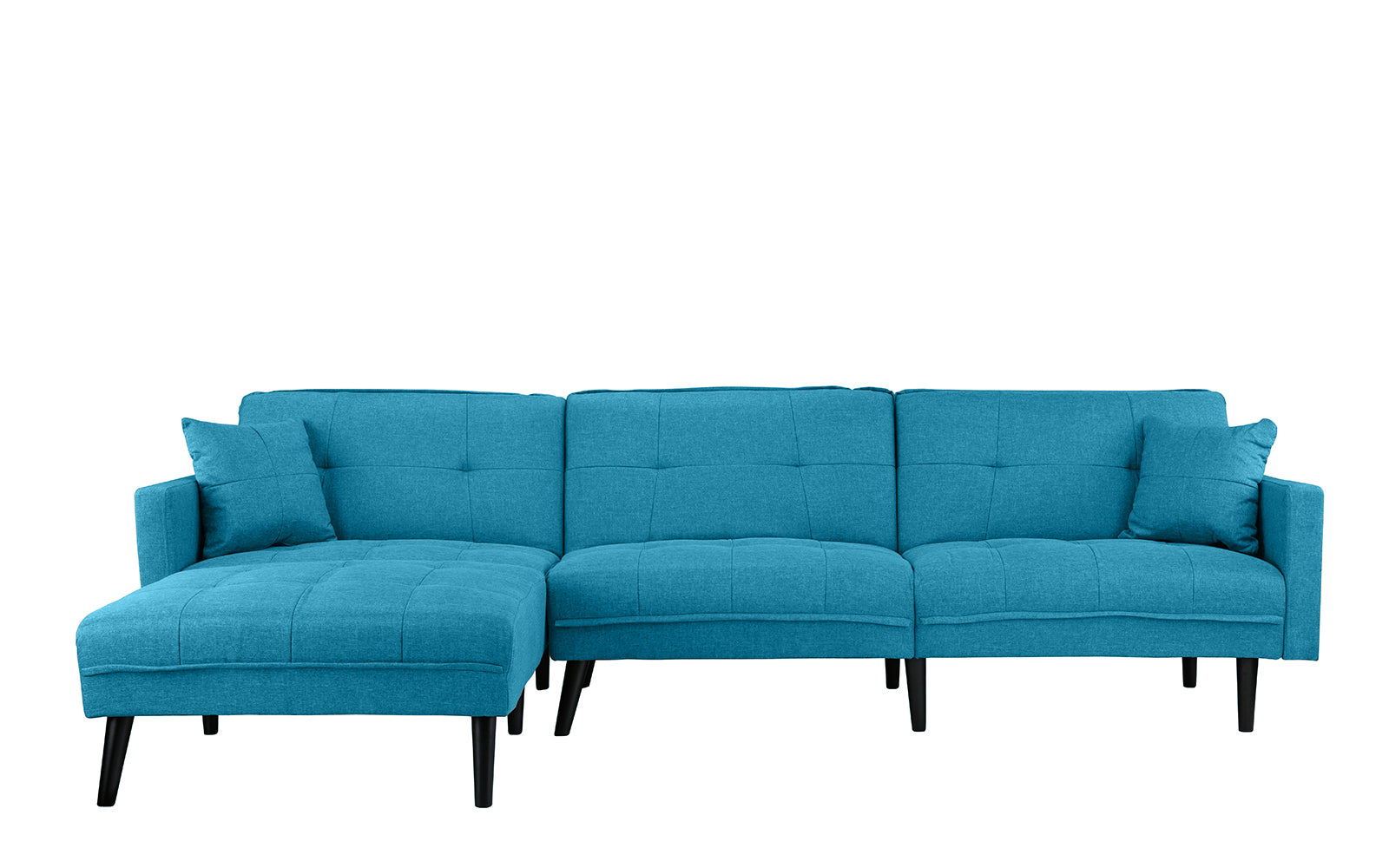 Romulo Mid-Century Modern Linen Sleeper Sectional Sofa with Chaise