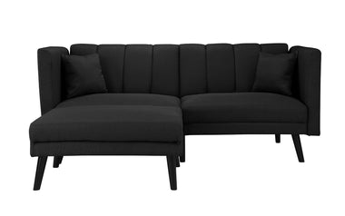 Superbe Esme Contemporary Loveseat Sleeper Futon With Chaise Lounge
