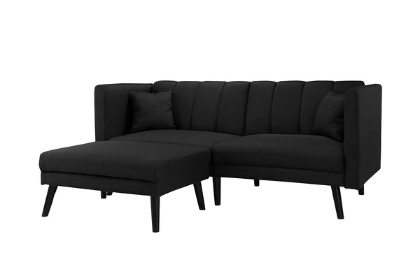 Esme Contemporary Loveseat Sleeper Futon With Chaise