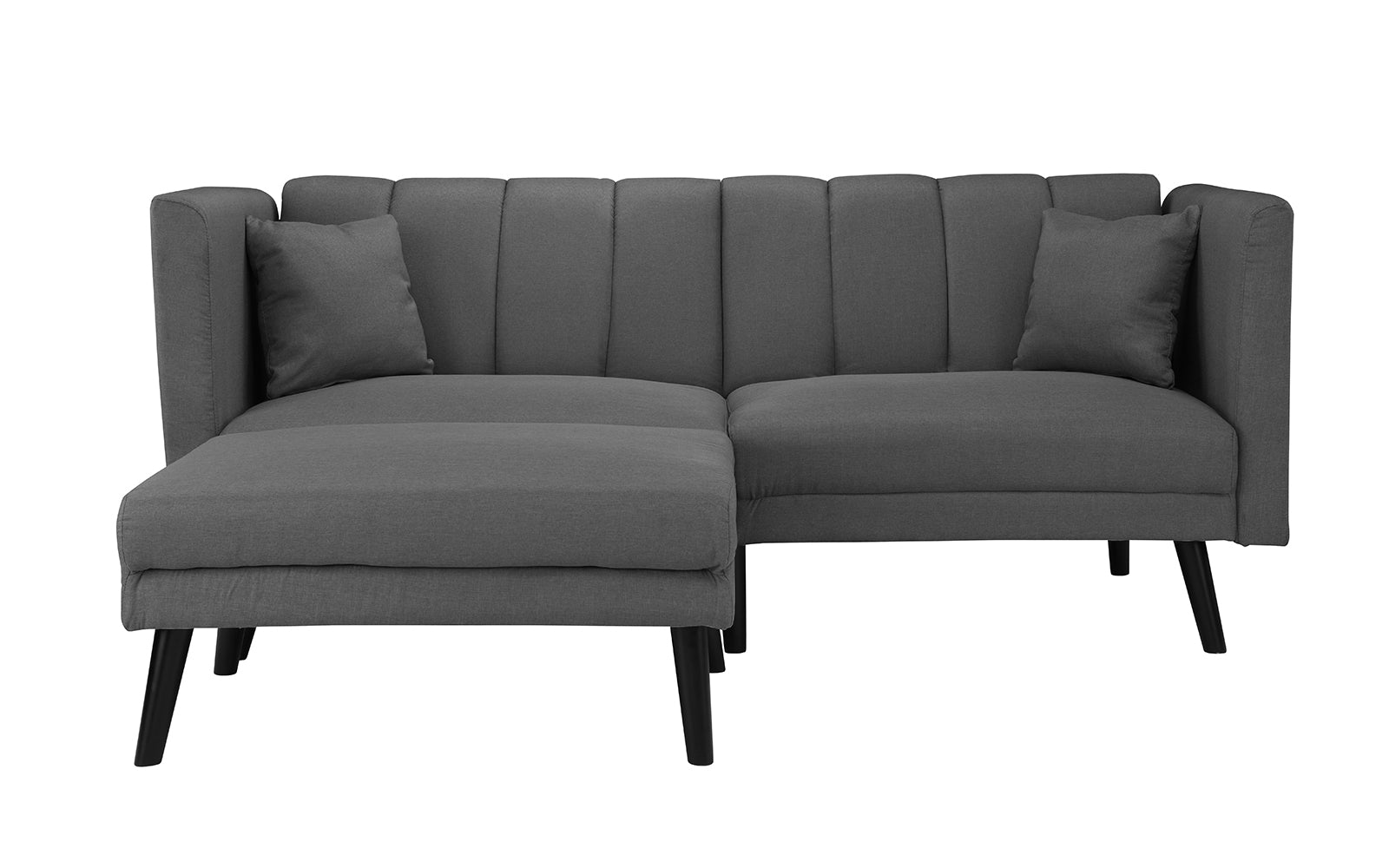 Esme Contemporary Loveseat Sleeper Futon with Chaise Lounge ...
