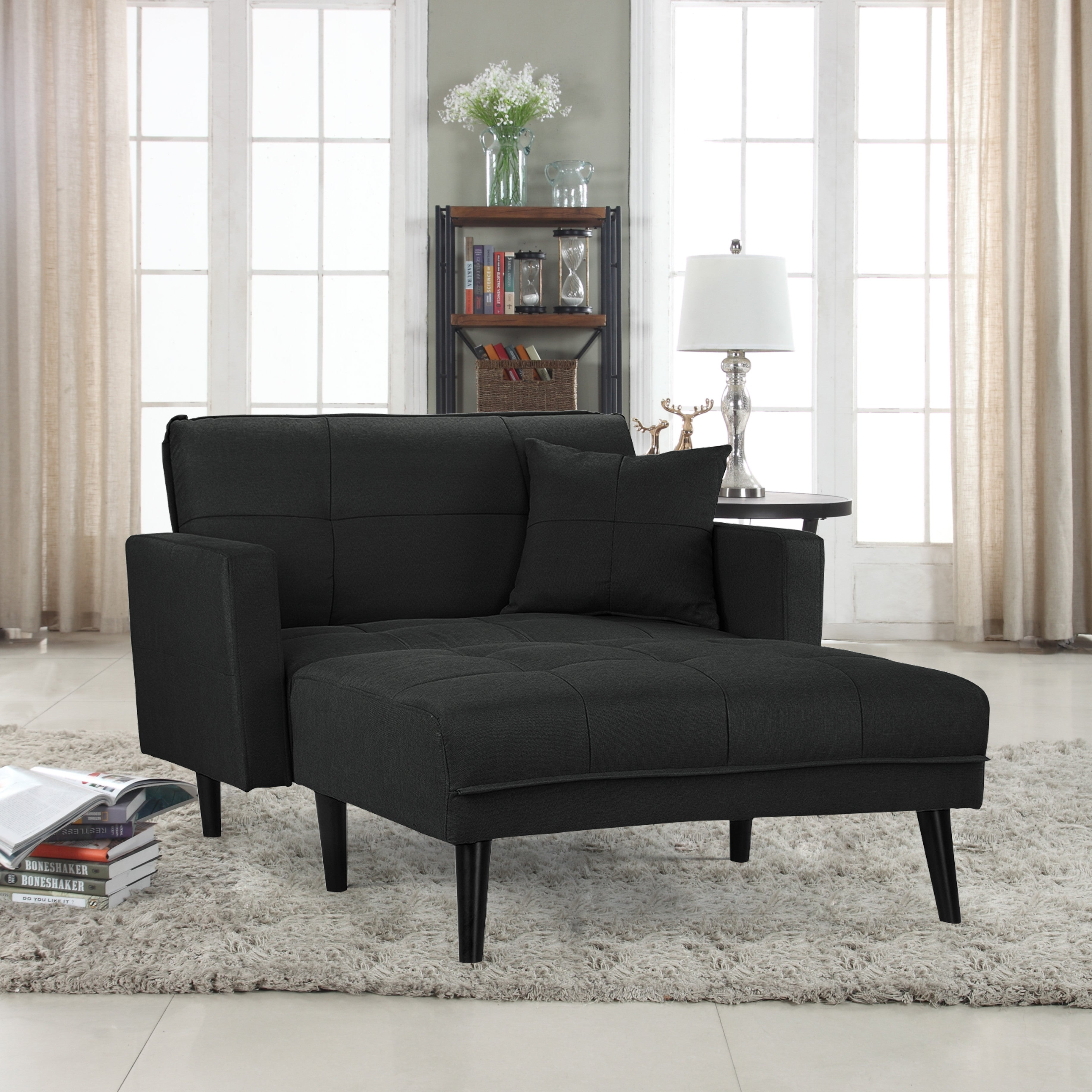 Madrid Contemporary Linen Sleeper Chaise Lounge
