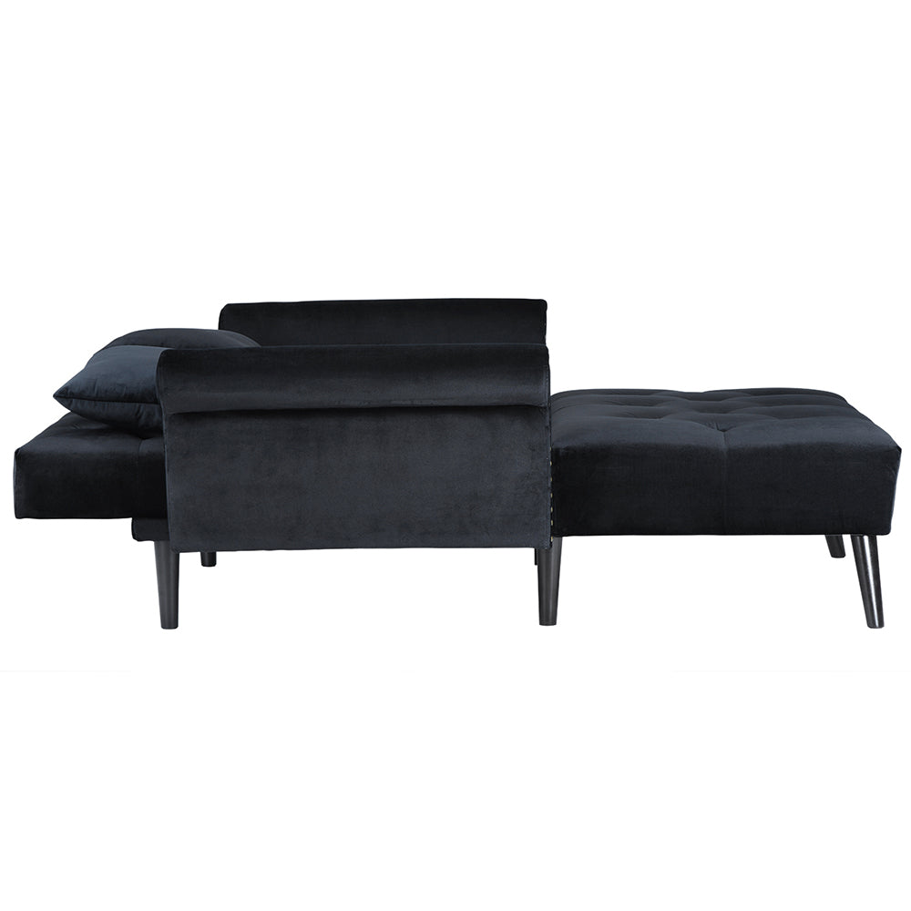 ... Bilbao Velvet Tufted Sleeper Chaise Lounge In Black Flat Sideshot ...