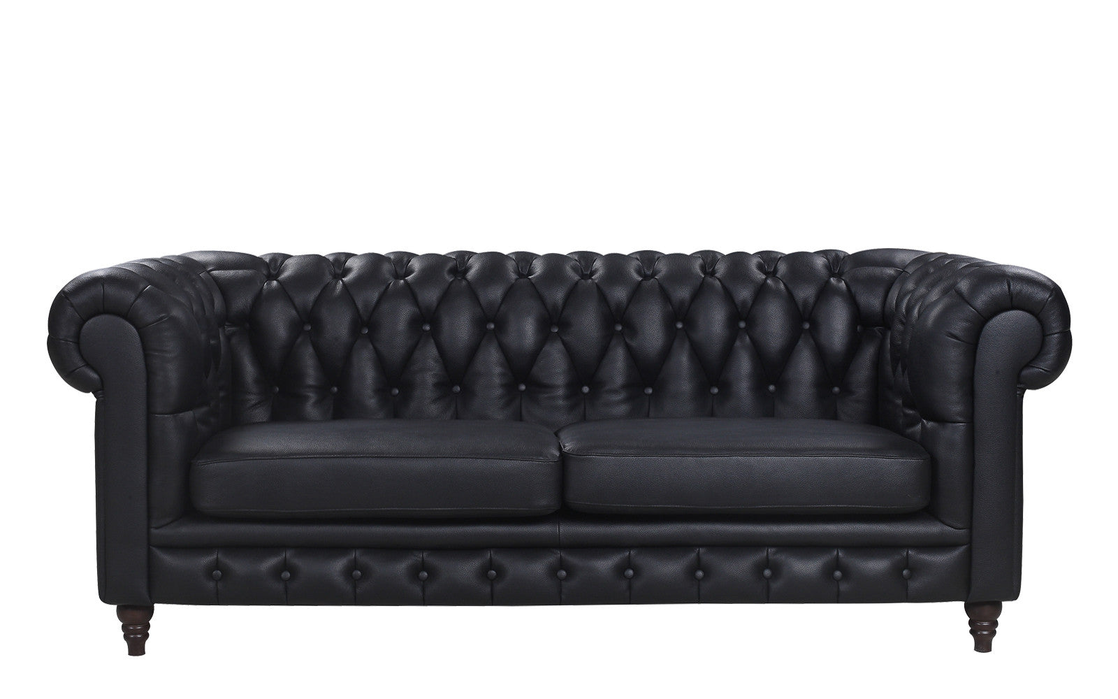 ... Crawley Leather Chesterfield Sofa In Black ...