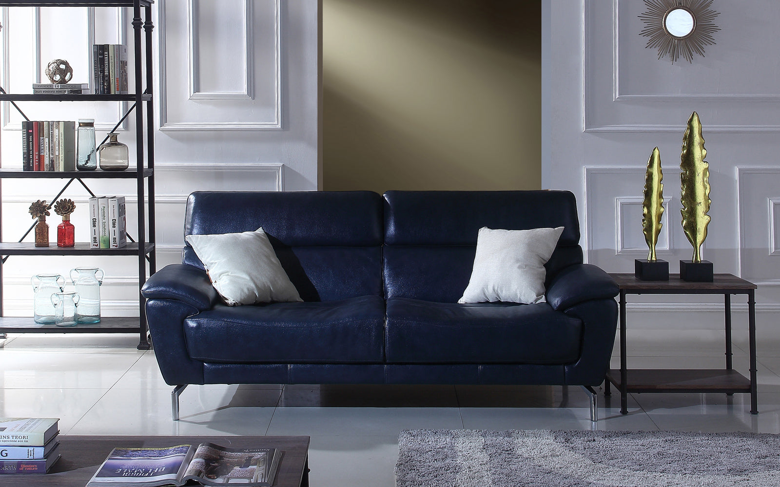 - Felix Mid Century Modern Polo Blue Leather Match Sofa Sofamania.com