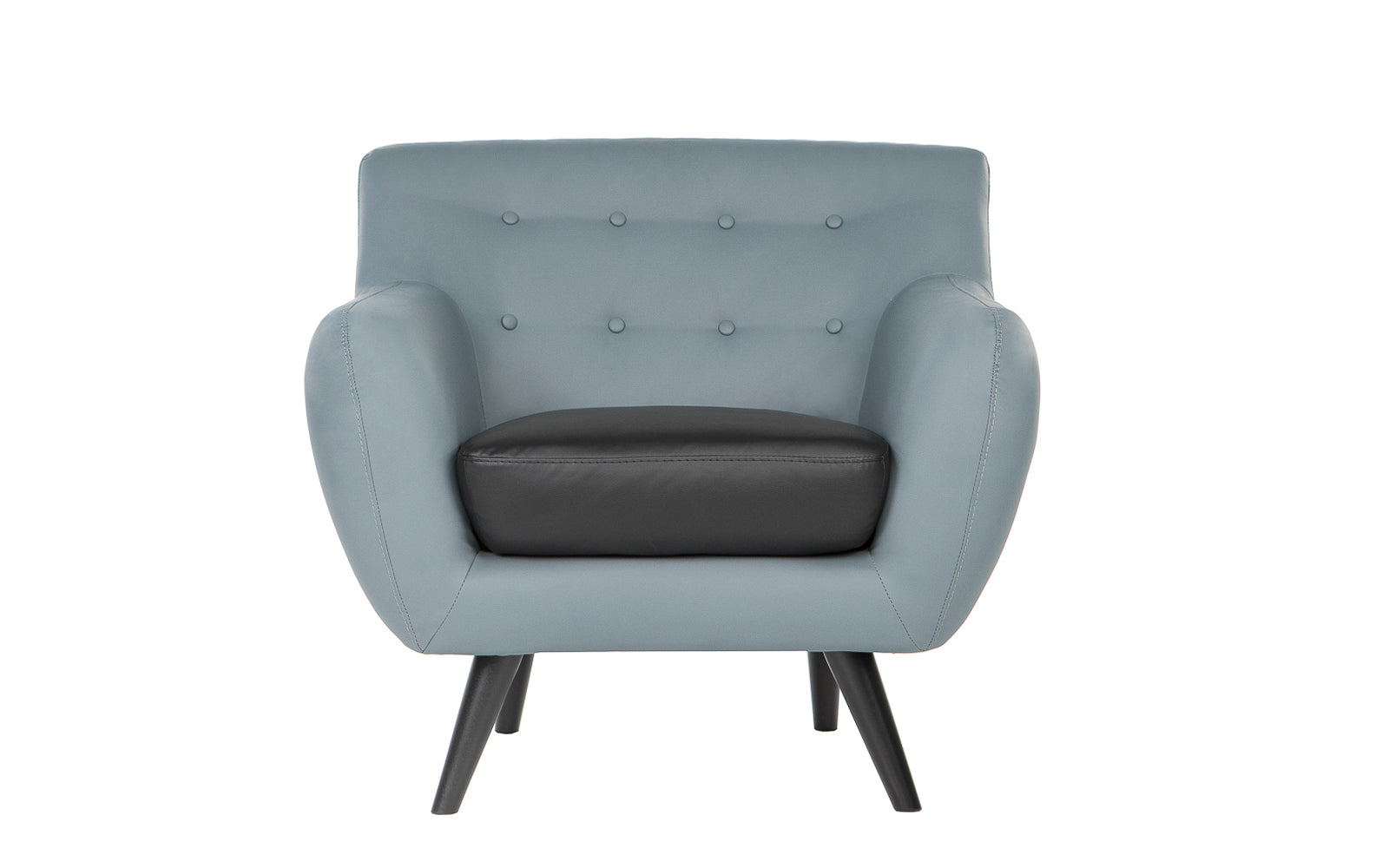 ... Nico Mid Century Modern Bonded Leather Chair Grey And Black ...
