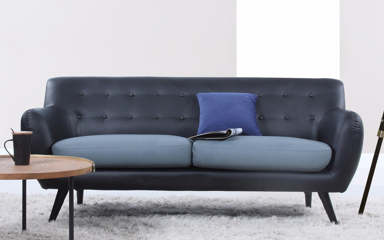 ... Nico Mid Century Modern Bonded Leather Sofa In Black And Grey ...