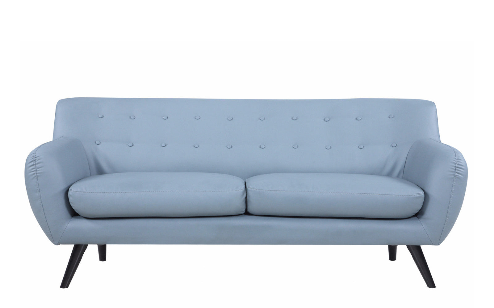... Nico Mid Century Modern Bonded Leather Sofa In Grey ...