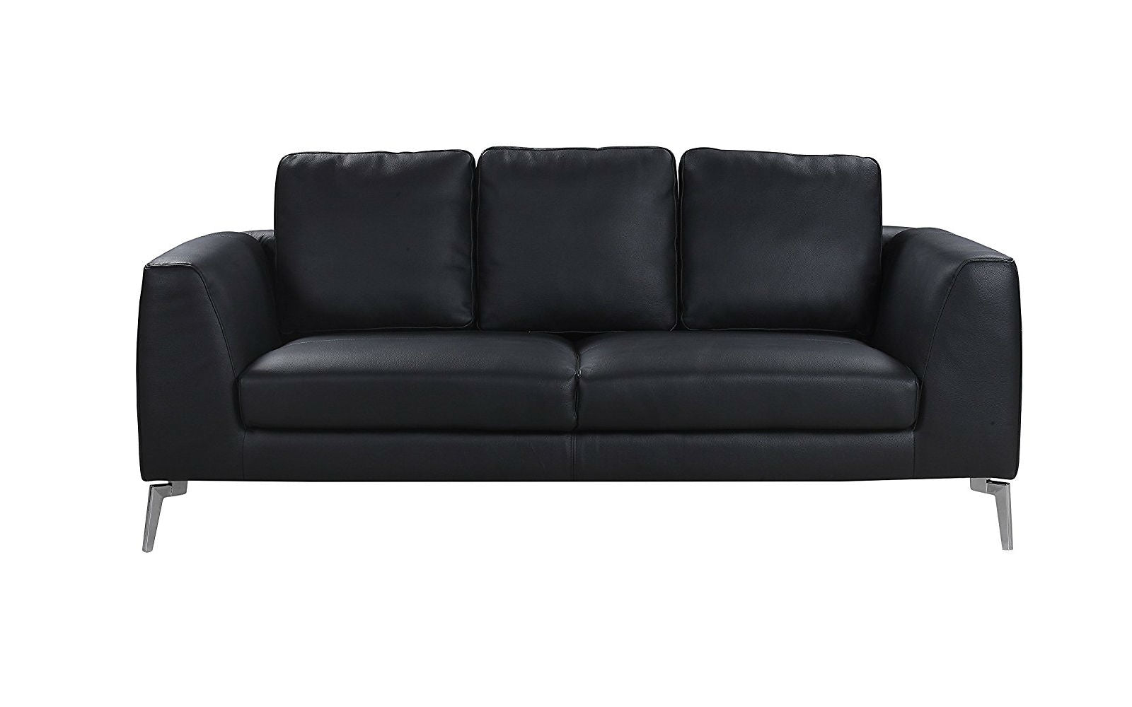 Genial ... Santiago Mid Century Modern Plush Leather Sofa In Black ...