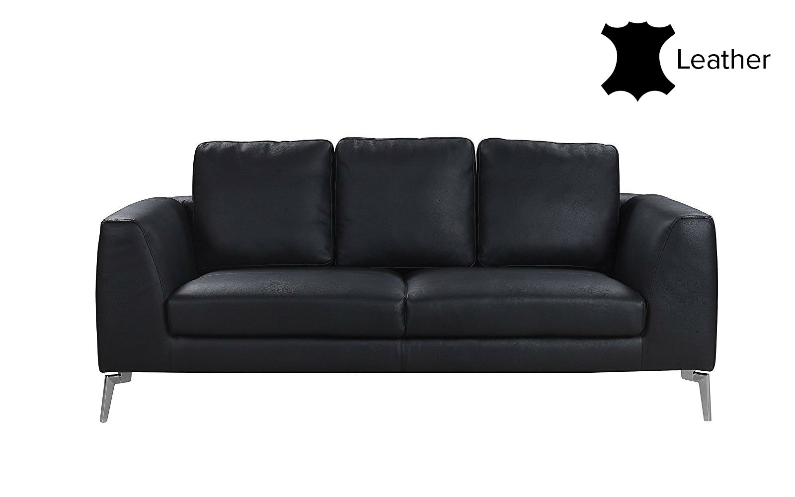 Santiago Mid Century Modern Leather Match Sofa | Sofamania.com