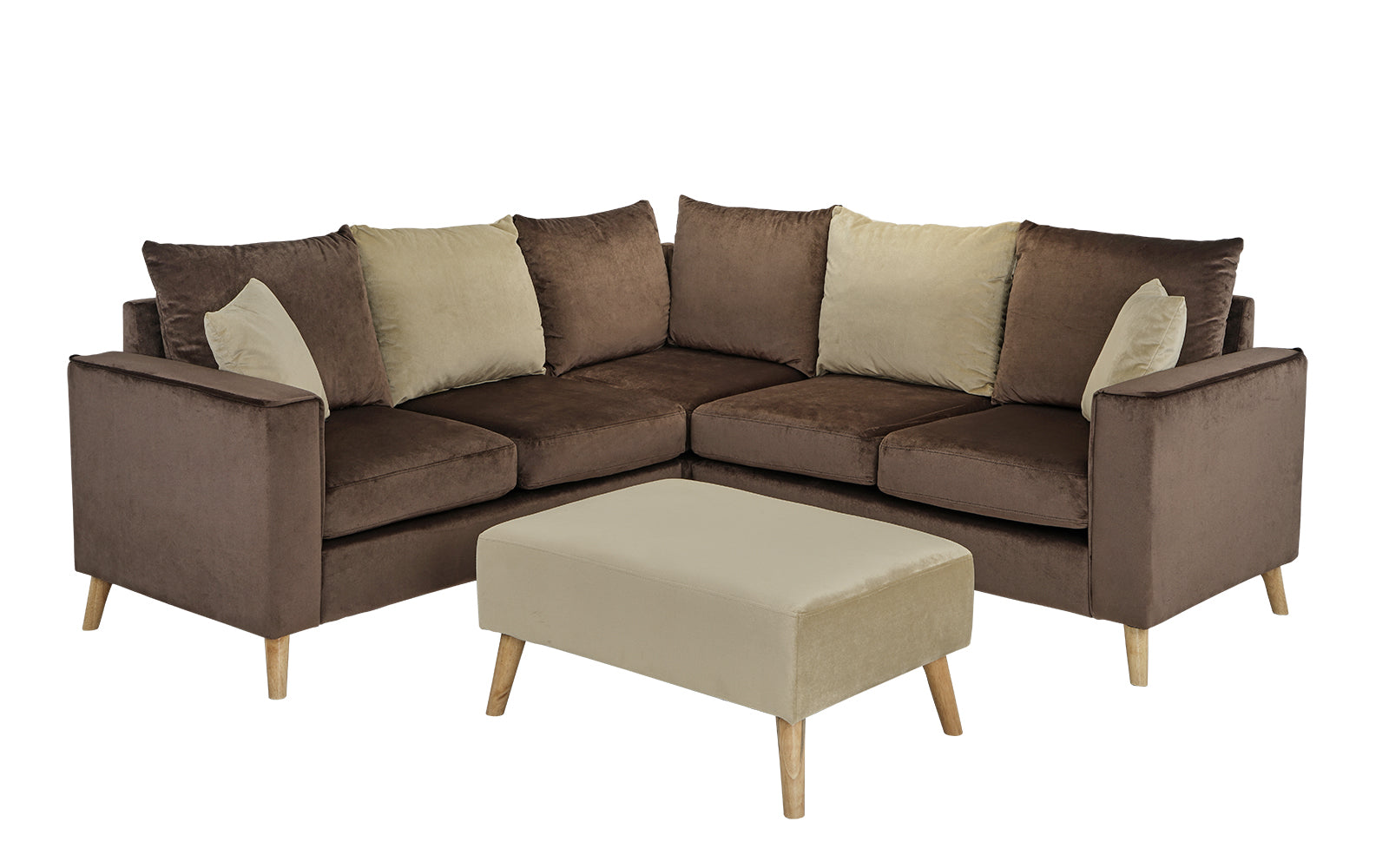 Alanna Small Modern Velvet Sectional Sofa With Ottoman