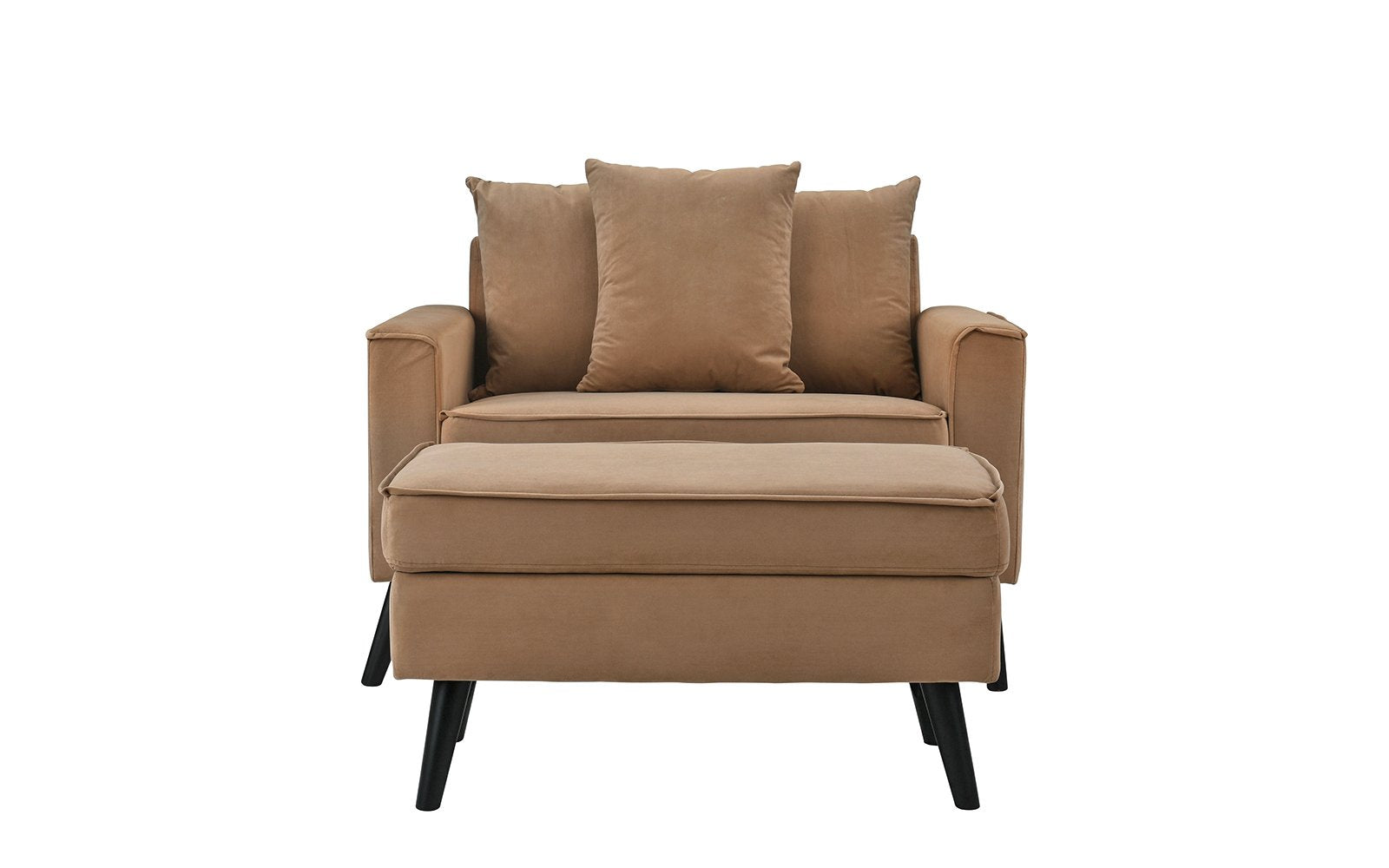 ... Mel Mid Century Modern Wide Chair With Footrest   Brown ...