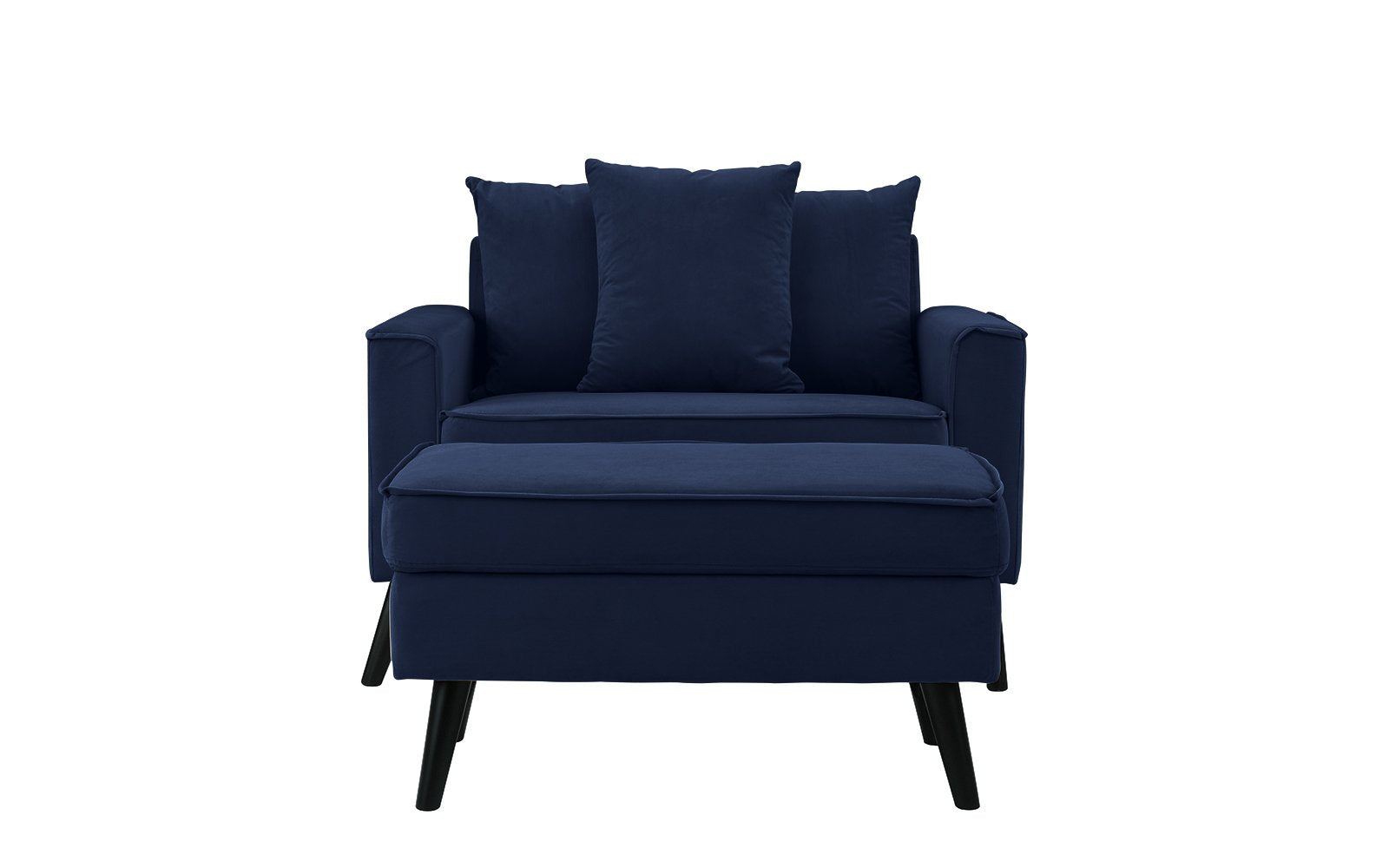 Etonnant Mel Mid Century Modern Wide Chair With Footrest   Navy ...