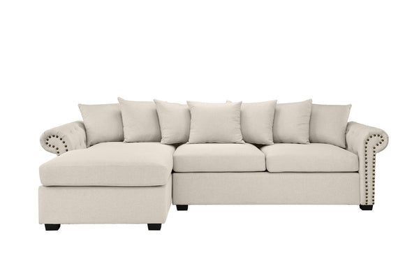 Melina Classic Victorian-Inspired Linen Sectional Sofa with ...